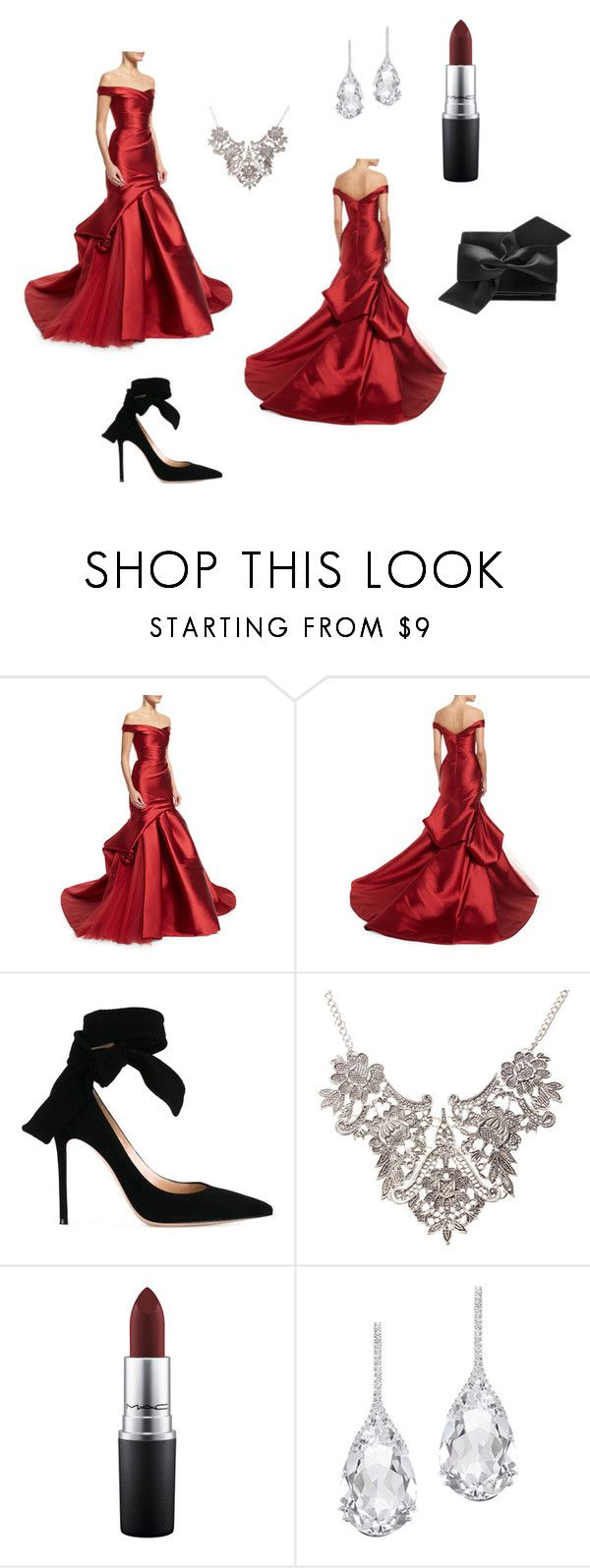 """""""Black Tie Dinner"""" by annmcneilly on Polyvore featuring Monique Lhuillier, Gianvito Rossi, MAC Cosmetics, Plukka and Victoria Beckham"""