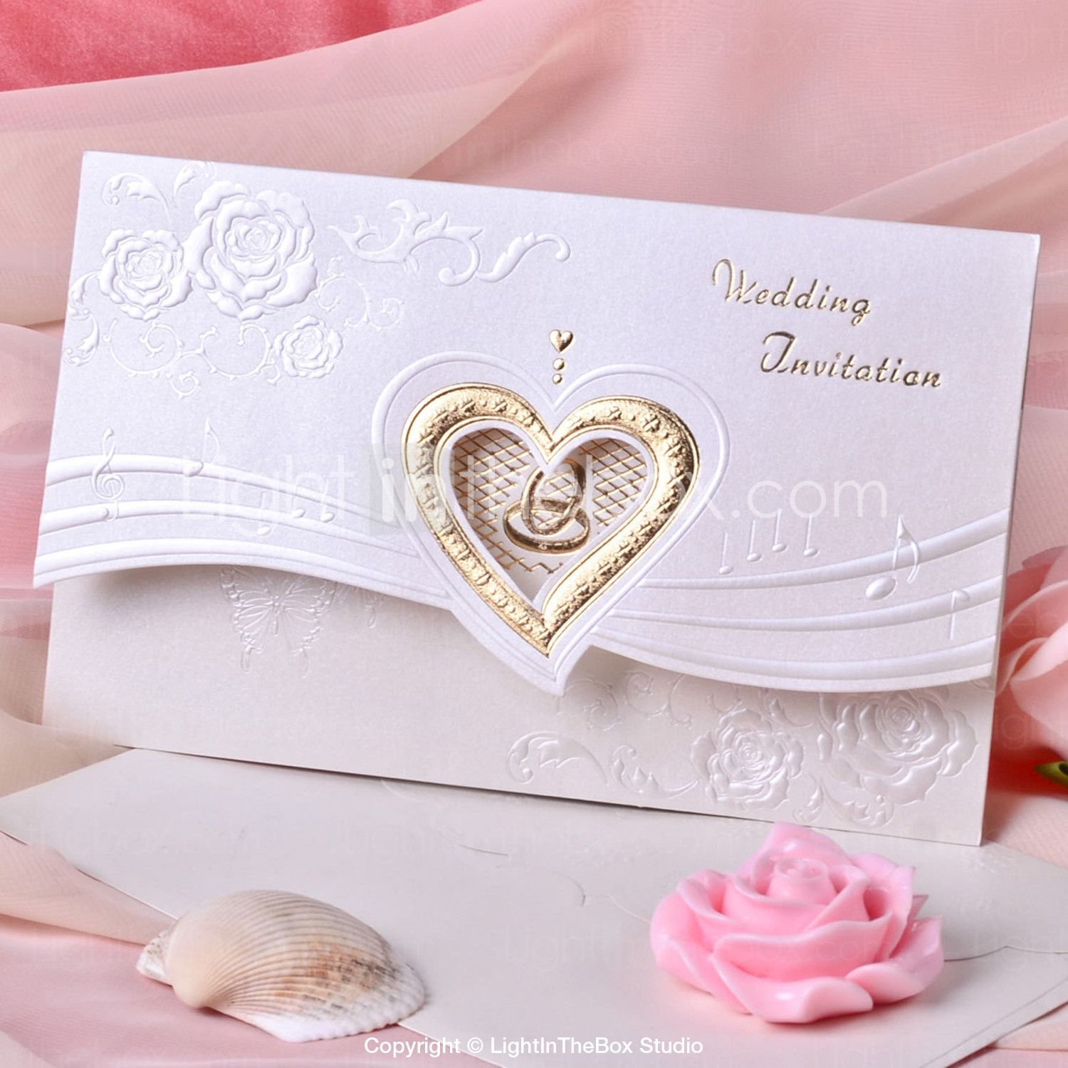 Wedding Invitation Heart Design With Flower (Set of 50) - USD ...
