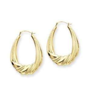 14k Yellow Gold Scalloped Shrimp Hoop Earrings Jewelry Earrings