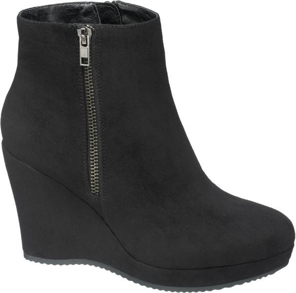 ef571415c Black wedge ankle boots