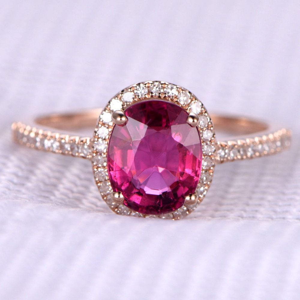 1.67ctw Oval Cut Pink Tourmaline and Diamond Engagement Ring 14K ...