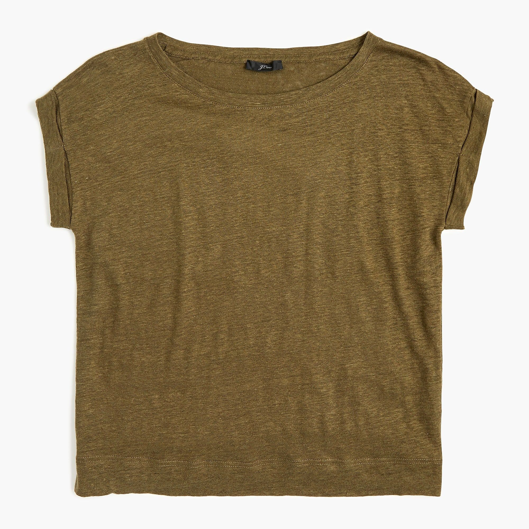 Linen Rolled Cuff T Shirt For Women T Shirts For Women Rolled Cuff Women