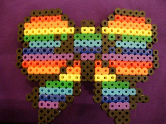 Rainbow Perler Bow Hair Clip by SugarSkullzArtCo