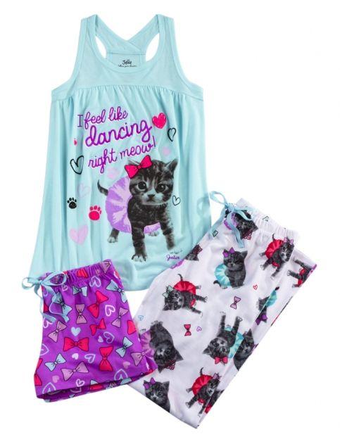 Dancing Kitten 3 Piece Pajama Set Girls Pajamas Robes Clothes Shop Justice Girls Pajamas Justice Clothing Clothes