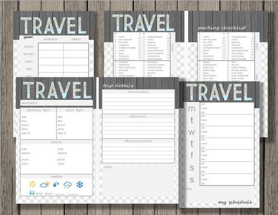 Travel printable, vacation planner, yearly trip planner, trip