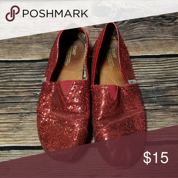 3828ae26124 Red sparkly Toms Youth size 5