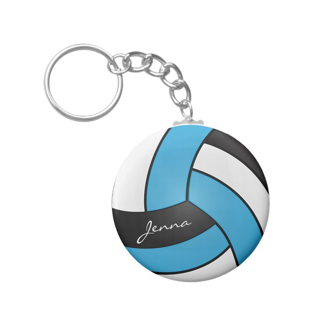 Baby Blue White And Black Volleyball Keychain Zazzle Com Purple Volleyball Team Gifts
