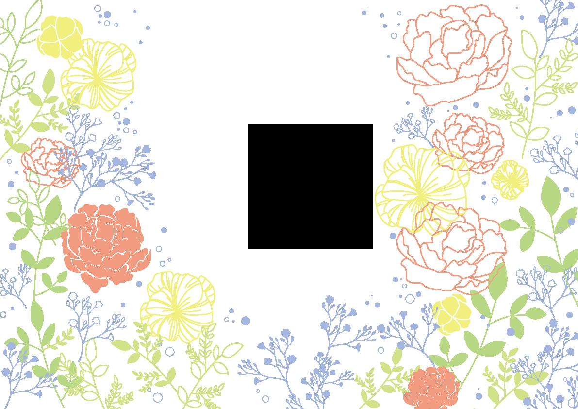 バラ&お花のカラフル線画_無料背景イラスト | 素材good | フレーム/flame