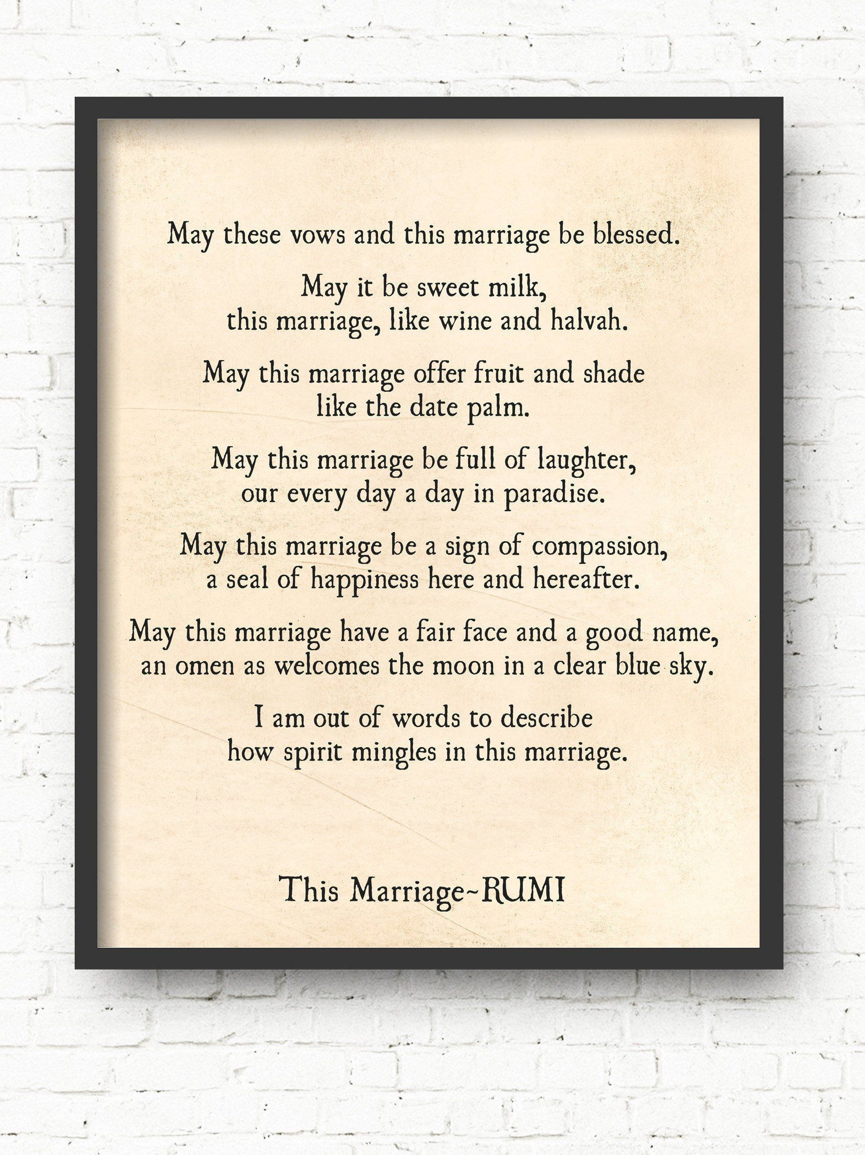 This Marriage Rumi Quote Art Print Wedding Anniversary Gift Etsy Art Prints Quotes Rumi Quotes Art Quotes