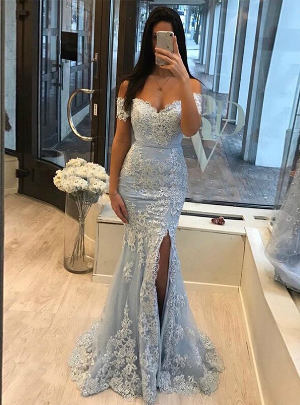 Light Blue Mermaid Tulle Appliques Off The Shoulder Prom Dress Prom Dresses Blue Prom Dresses Lace Prom Outfits [ 1297 x 960 Pixel ]