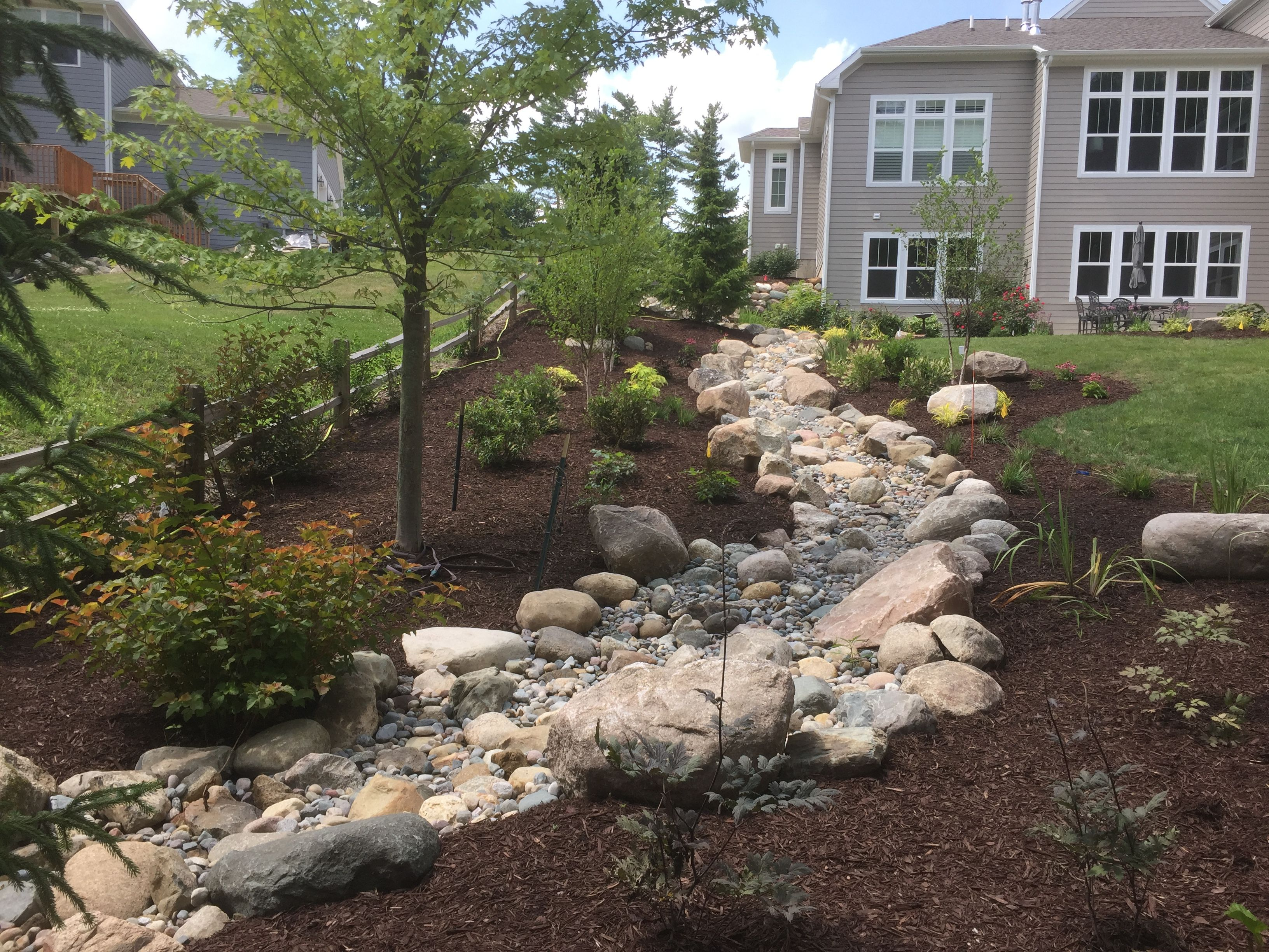 Back Yard Landscape With Dry River Bed