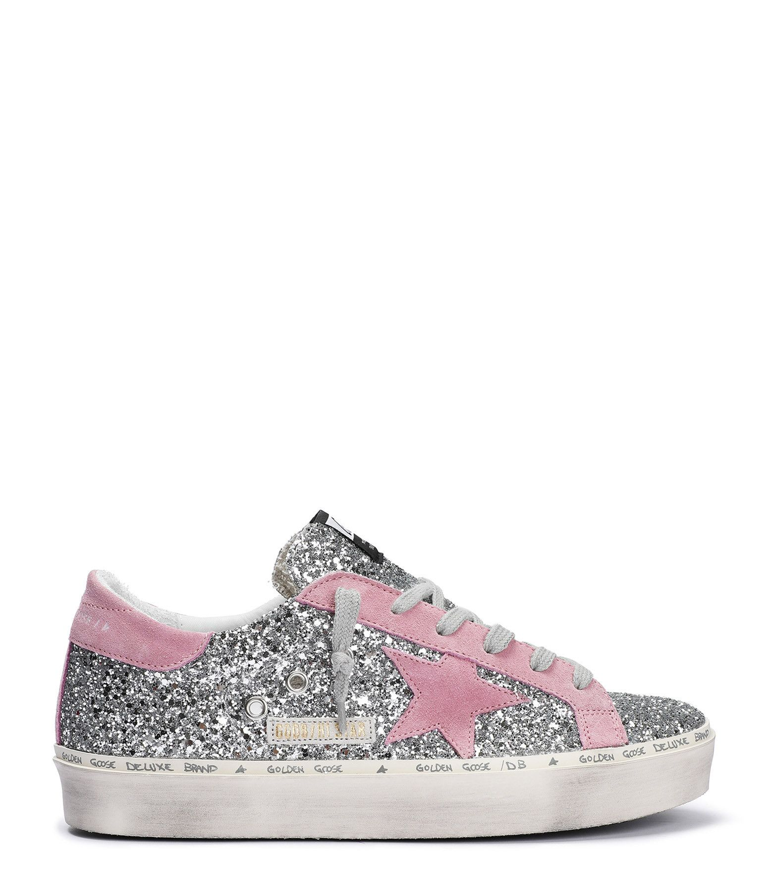 Baskets Hi Star Paillettes Cuir Argenté Rose en 2020