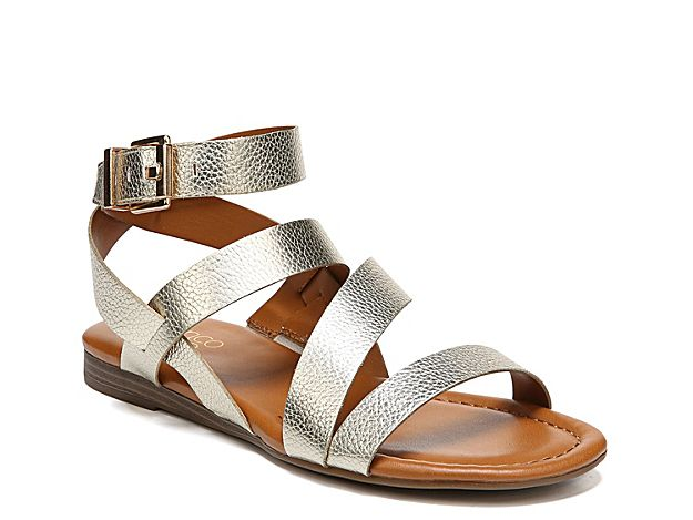 723899cad66 Women Gauge Flat Sandal -Gold Metallic Embossed in 2019