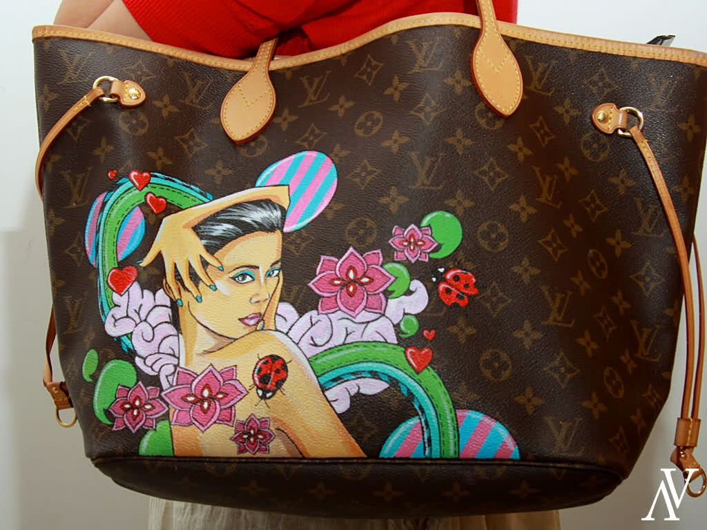 926205afe4937d I Custom Painted Artwork on a LV Neverfull - PurseForum | a bit ...