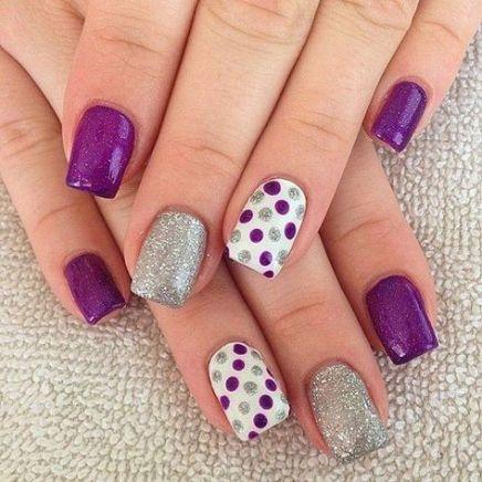 29 ideas nails art purple silver polka dots for 2019