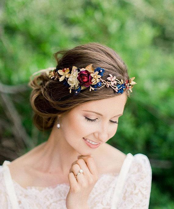 Flower wreath Burgundy and Gold Headband Blush and Burgundy Flower Crown Bridal Flower Vine Navy Maroon and Gold Wedding hair Vine
