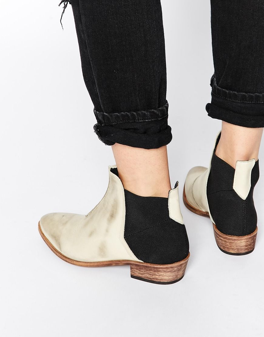 Image 1 of Free People Dark Horse White Flat Ankle Boots | Make up