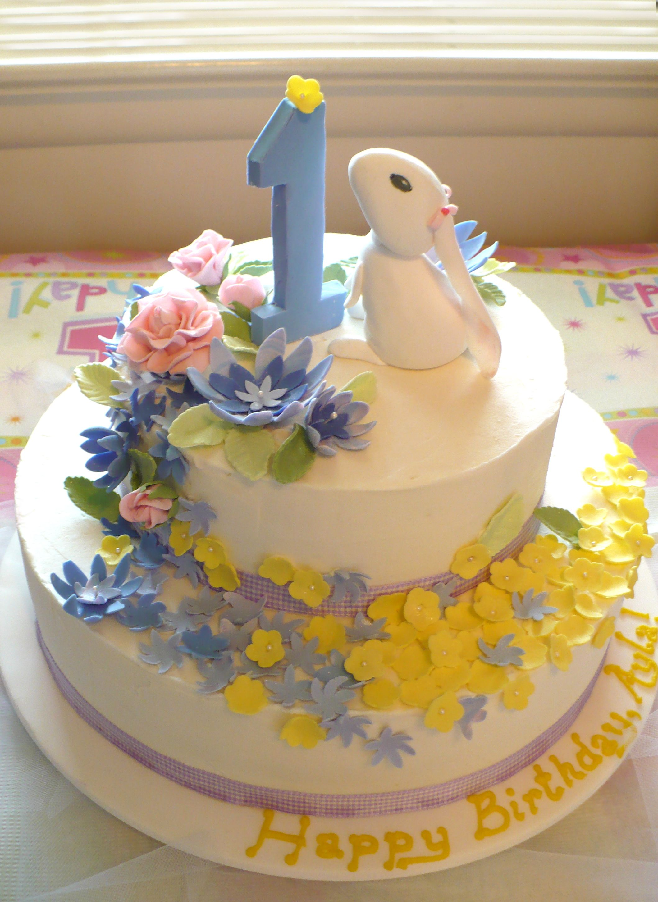 Admirable Easter First Birthday Cake W Fondant Decorations Little Girl Personalised Birthday Cards Veneteletsinfo
