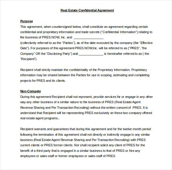 Real Estate Confidentiality Agreement Word Template Free  Home