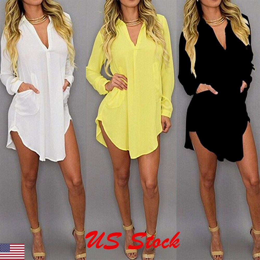 32a719d7de0d2 Plus Size Summer Womens Casual Loose Long Sleeve Chiffon Shirt Blouse Tops  Dress