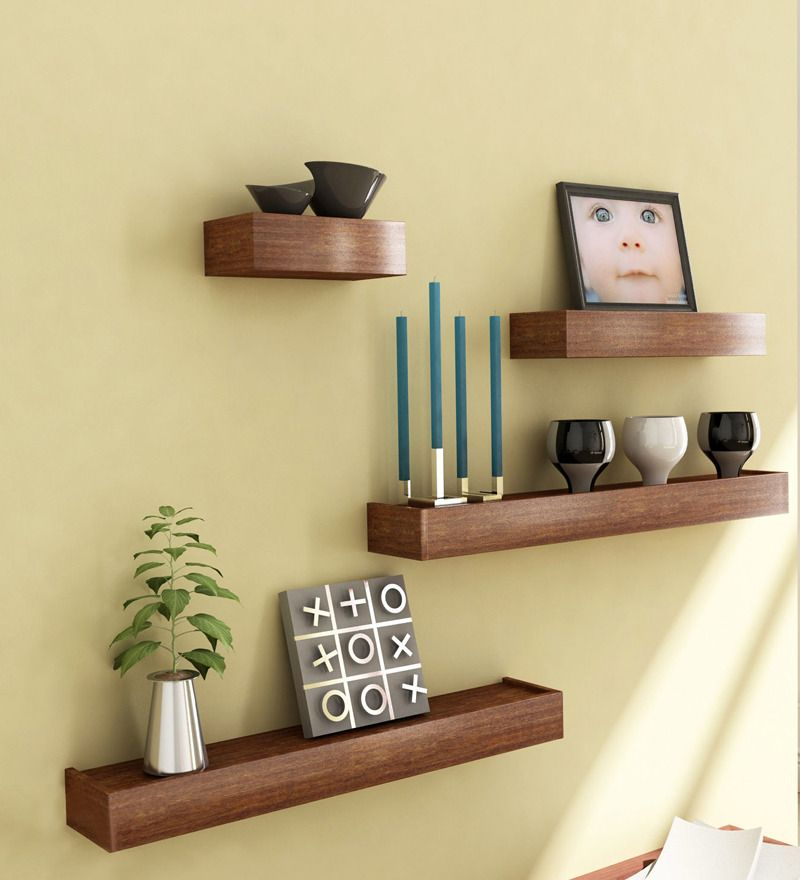 Mango wood wall shelf modern wall shelves ons huis for Shelf decor items