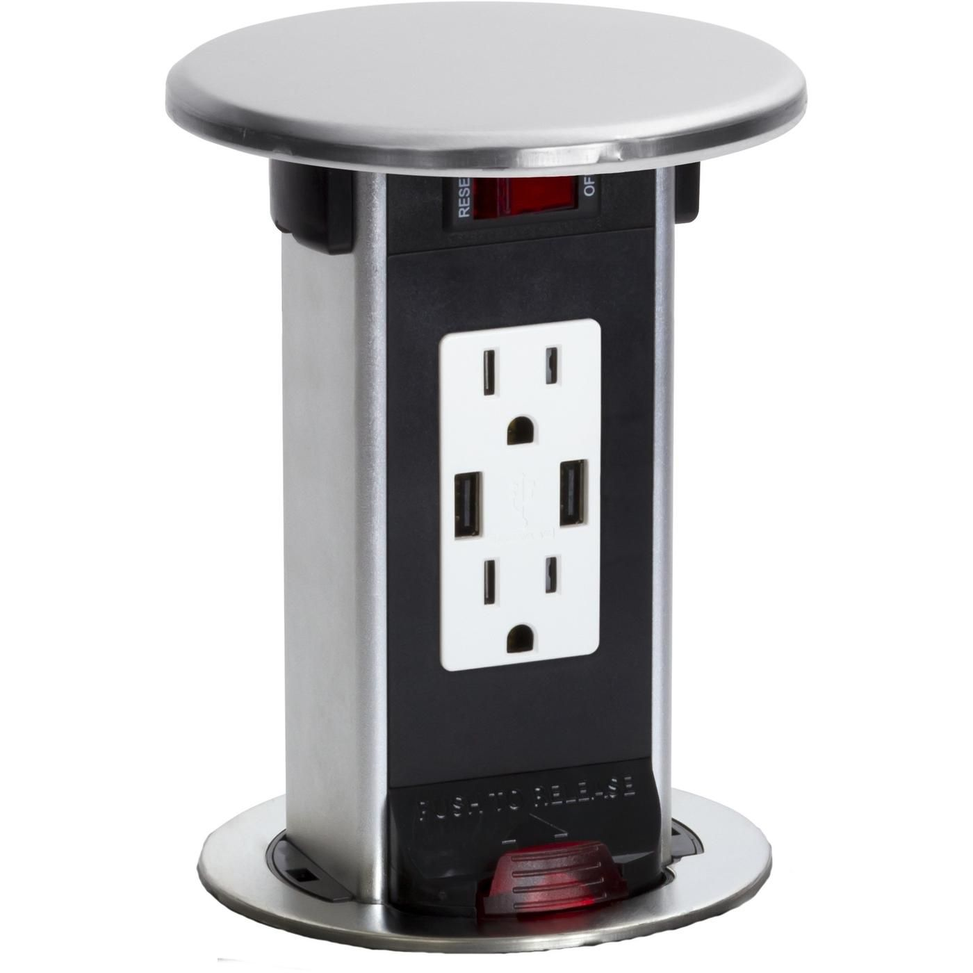 Pop Up Outlets For Kitchen Cost To Refinish Cabinets Counter Spill Proof Round 15a Usb Outlet