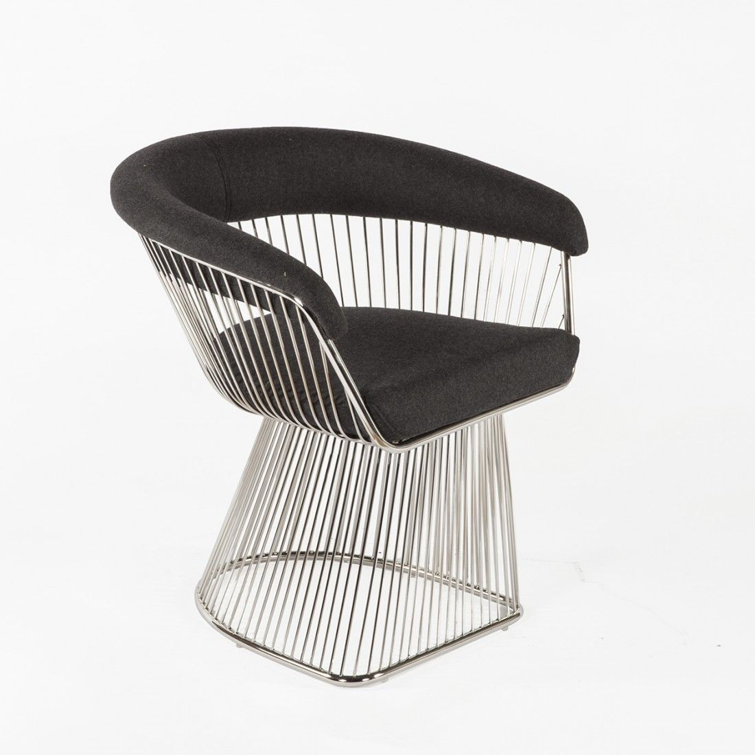 mid century warren platner lounge chair replica grey wool france