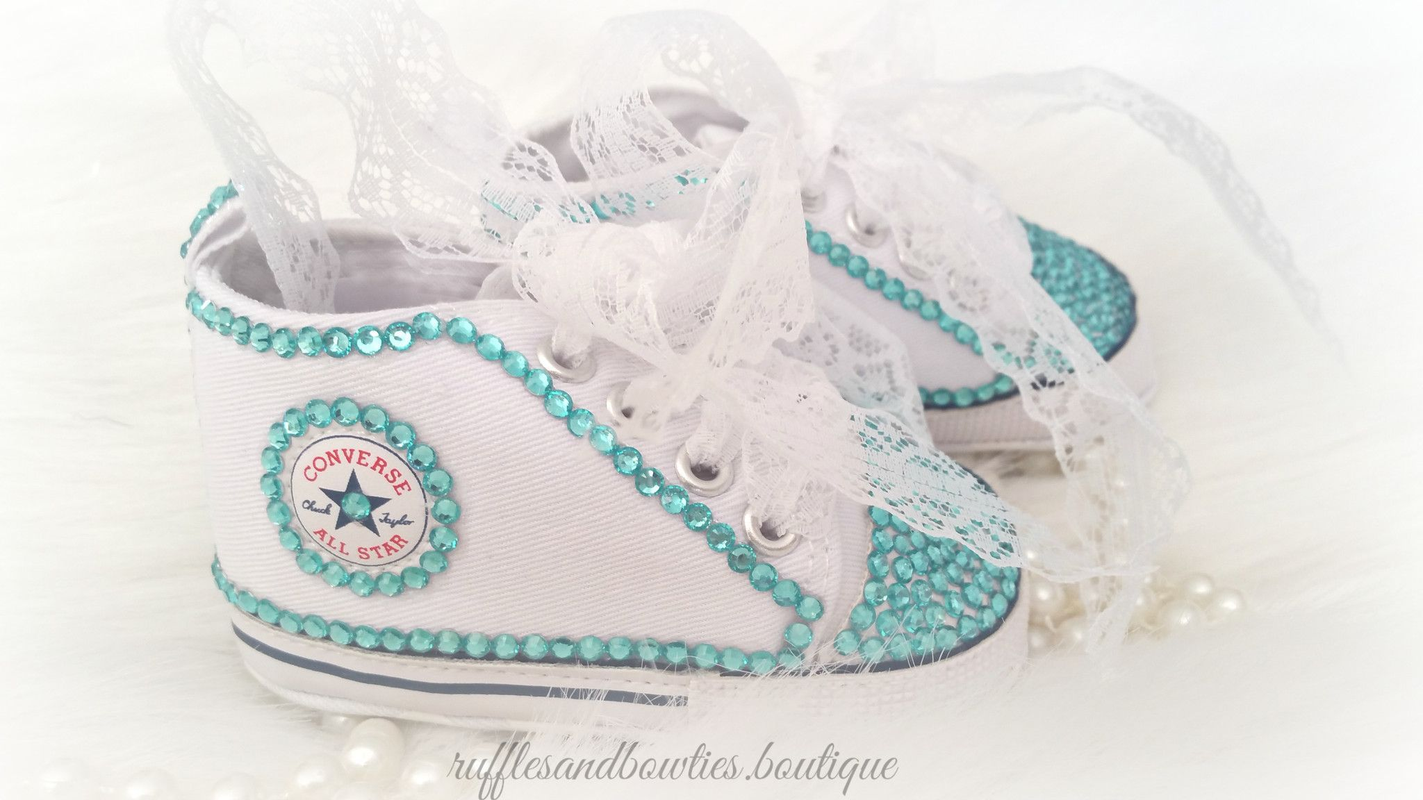 Baby White Converse Pram Shoes Baby Girl Crystal Shoes White Converse Hightops With Aqua