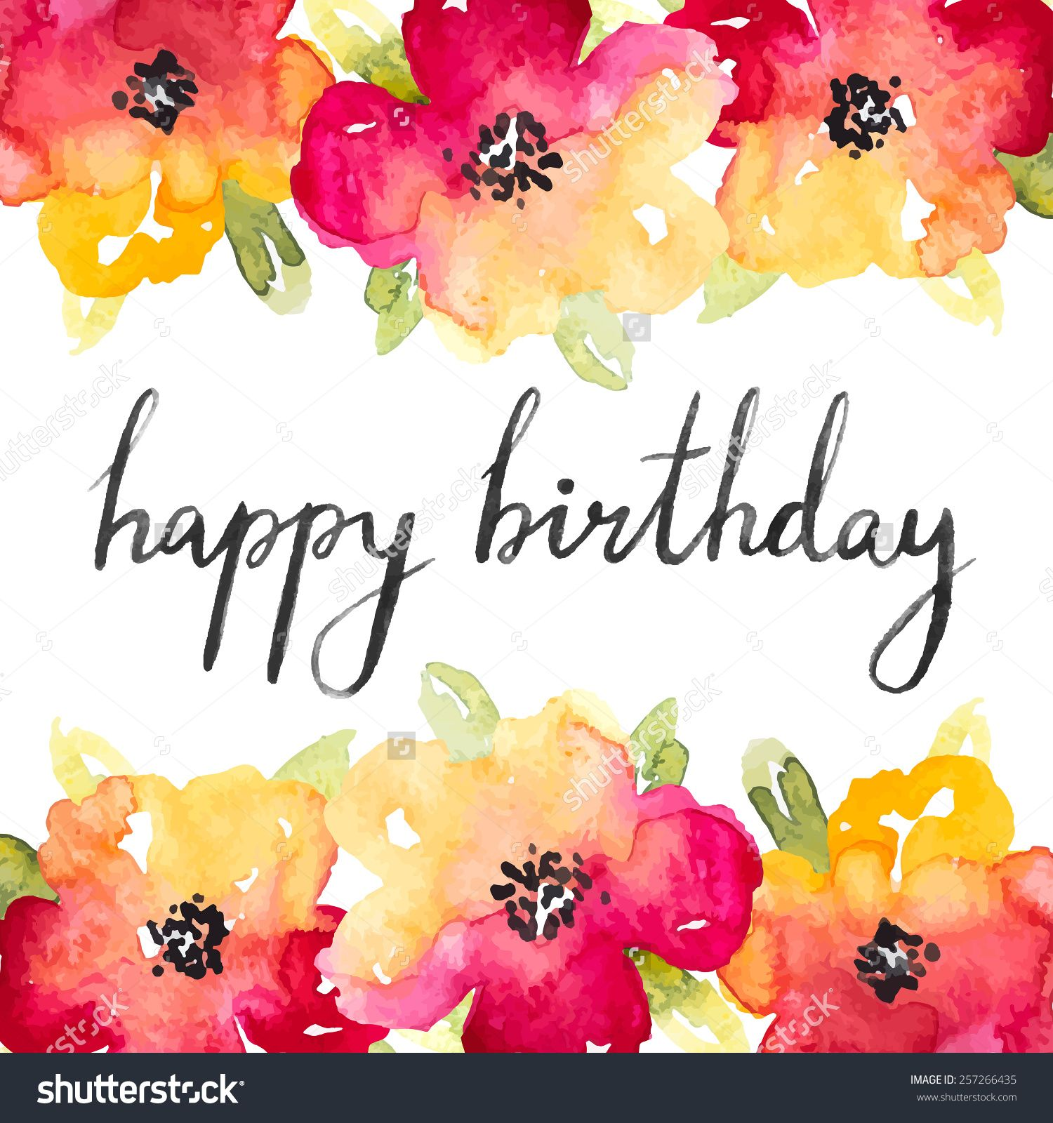 Vector Red And Yellow Anemones Watercolor Flowers With Happy Birthday