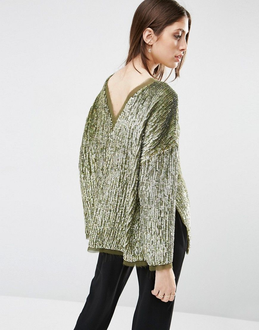Image 1 of ASOS Sequin Oversized Sweat with V Back & Raw Edge ...
