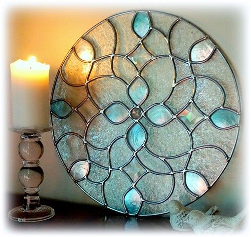 leaded stained art glass window panel with iridescent shell jewel and beveled glass accents