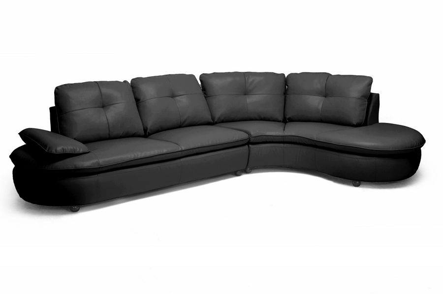 Baxton Studio Hilaria Black Leather Modern Sectional Sofa For The Best Deal Price Of Affordable Furniture In Chicago