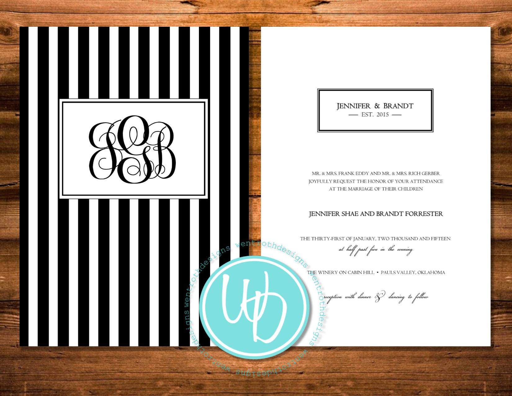 Black and white striped wedding invitation, monogrammed wedding ...