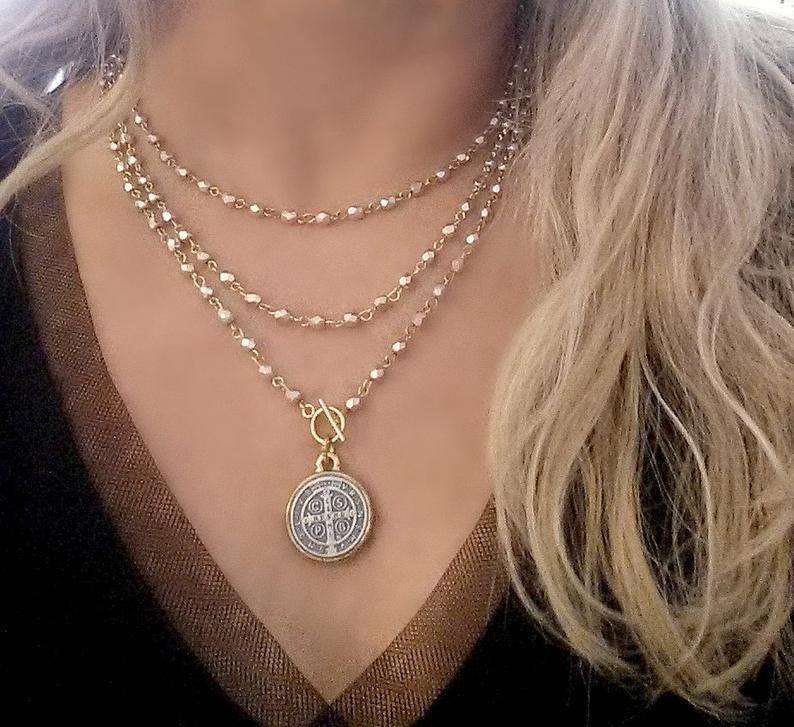 "Two Tone Gold St Christopher Circle Medallion 4 Diamonds 1.16 /"" Pendant Necklace"