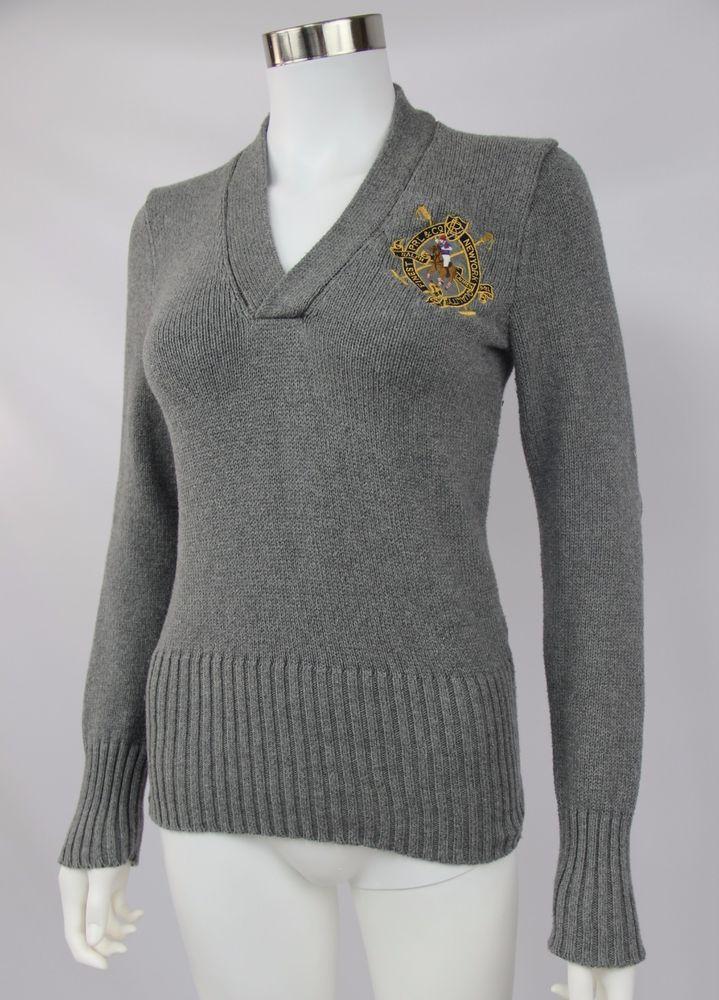 Ralph Lauren Sport Womens Sz Medium Gray Long Sleeve Crest Cotton V-Neck Sweater #RalphLauren #VNeck