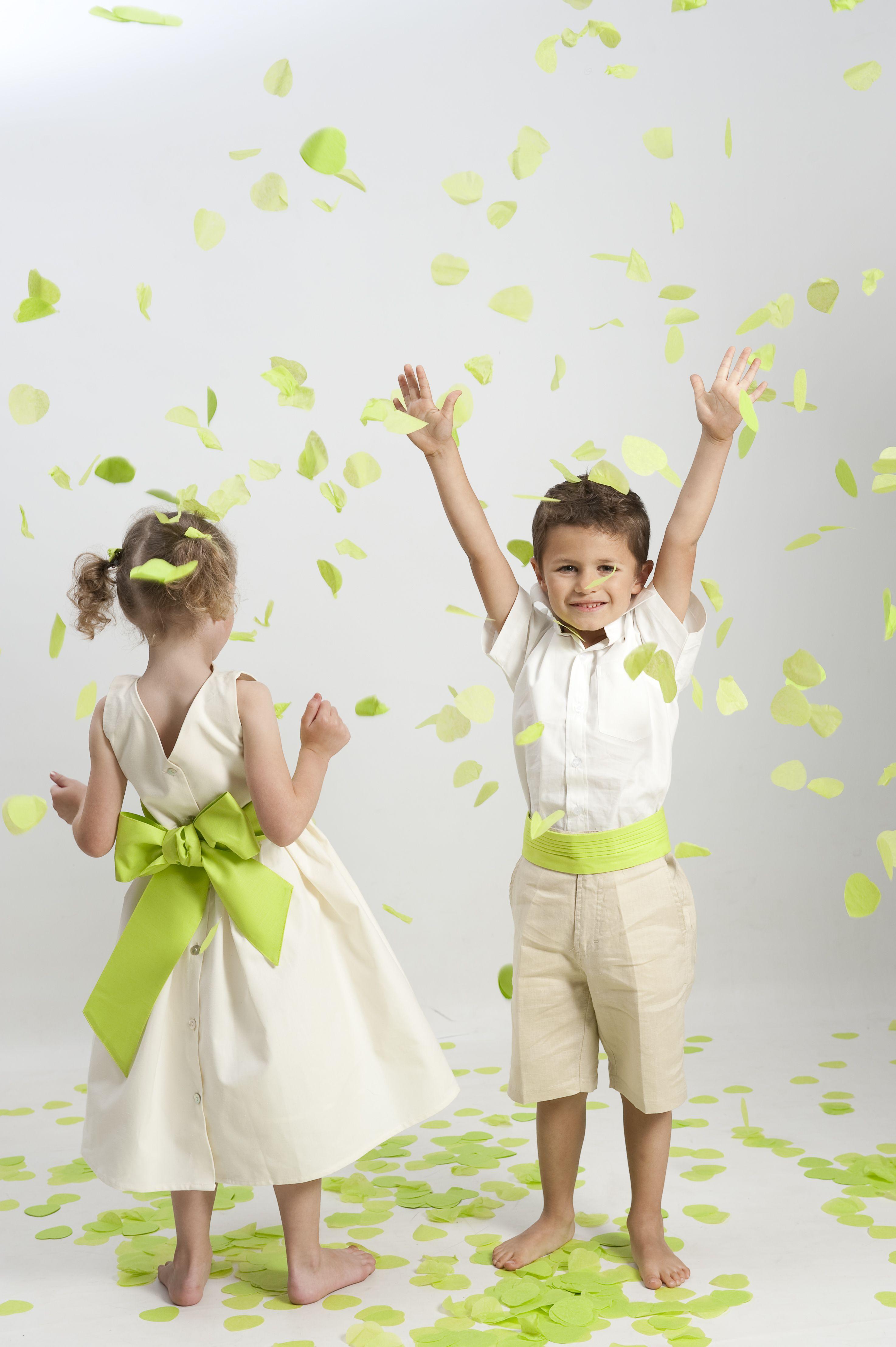 robe de c r monie fille en coton avec ceinture verte pour. Black Bedroom Furniture Sets. Home Design Ideas