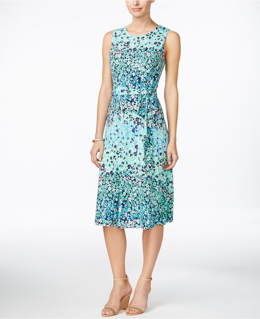 Charter Club Petite Printed Fit & Flare Belted Dress, Only at Macy\'s ...