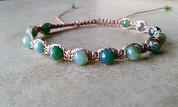 Beige cord macrame adjustable bracelet with natural turquoise gems stones