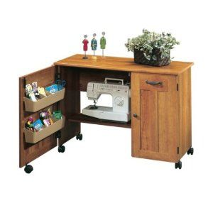 Folding Table with Sew-Kit Bundle Sewing Cabinet Furniture//Craft Center Cinnamon Cherry