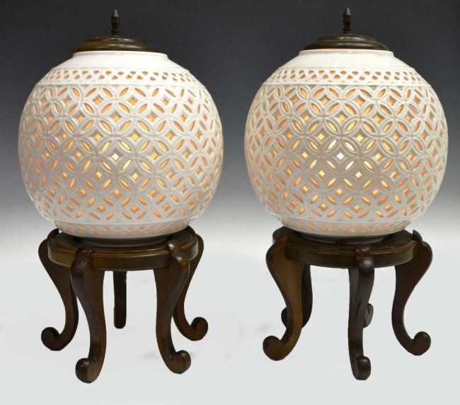 White Pierced Ginger Jar Lamp 211 Asian Ceramic Table Lamps