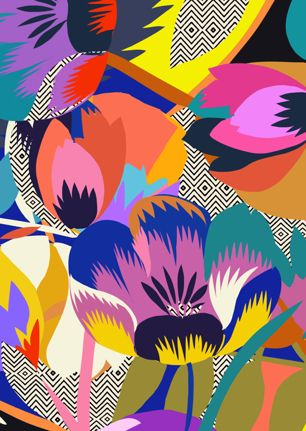 Among The Spring Flowers - Kitty McCall I love the juxtaposition between the black and white background to the vibrant block coloured flowers layered over the top, I find it very aesthetically pleasing. The shapes are simple but the use of different colours add more detail, making it a busy and fun print.