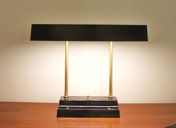 1950s Mad Men style desk lamp, black with brass