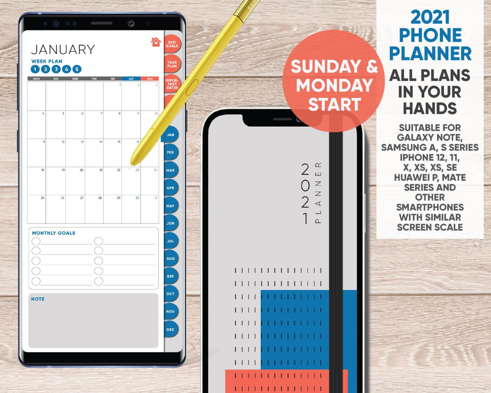 5 Smartphone DIGITAL Planner Complete links to monthly   Etsy ...
