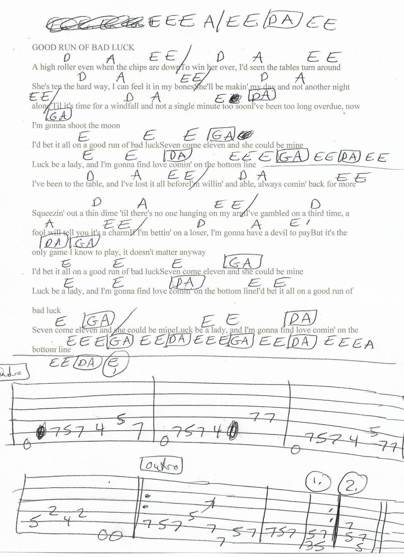 Good Run Of Bad Luck Clint Black Guitar Chord Chart 2018