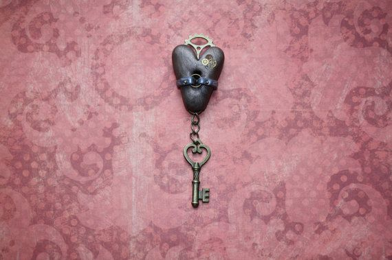 Steampunk polymer clay heart shaped pendant  by ChasingWhimsies, £8.09