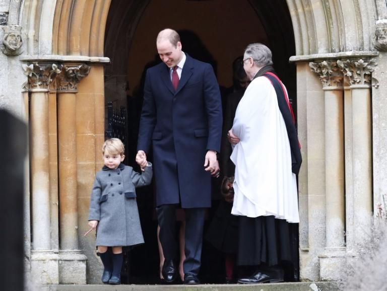 Prince George wore shorts for the relatively mild Christmas Day.