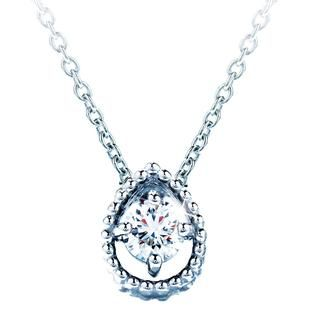 """New Hearts On Fire® Petite Beaded Teardrop Pendant in 18k white gold with a 0.10 carat diamond on an 18"""" chain."""
