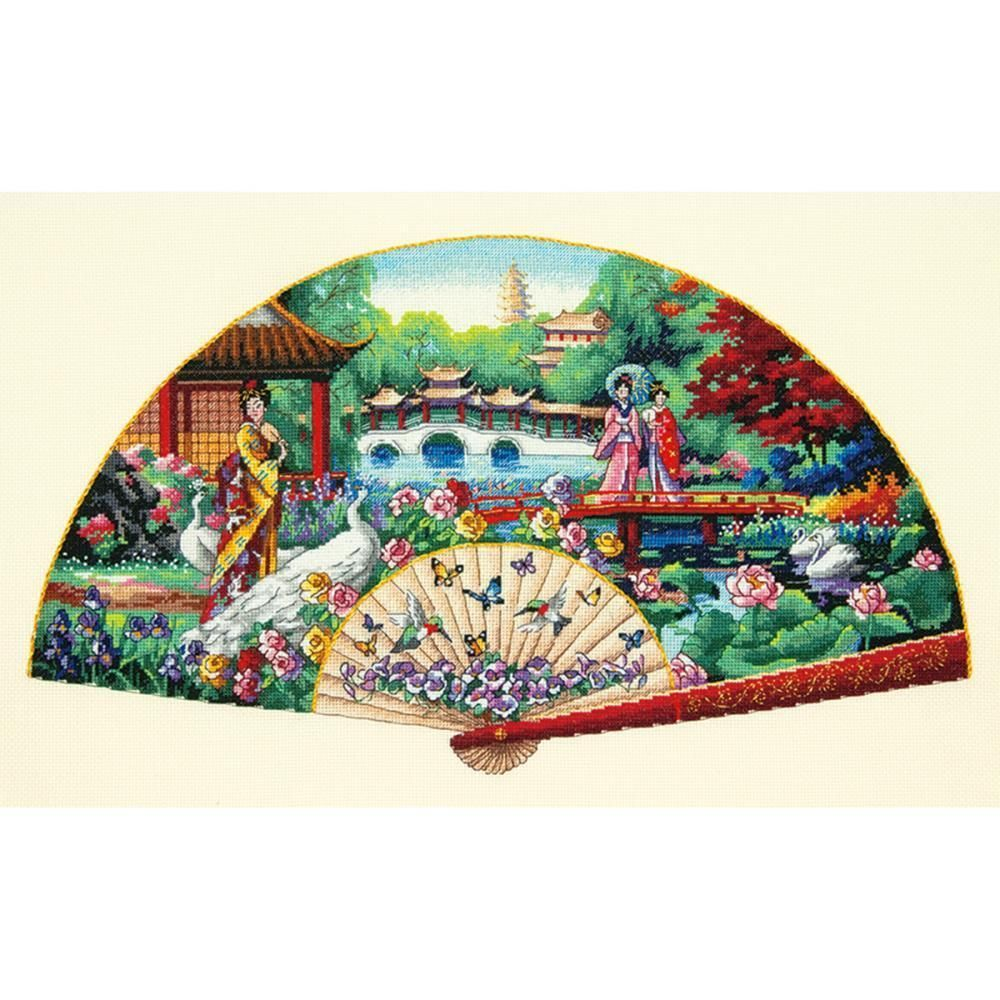 Counted Cross Stitch Kit  GARDEN FAN Oriental Geisha Dimensions Gold Collection #Dimensions #DimensionsGoldCollection
