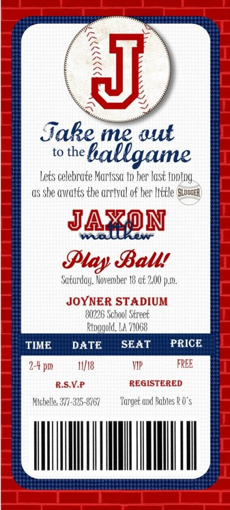 Baseball Ticket Baby Shower Invitations Template