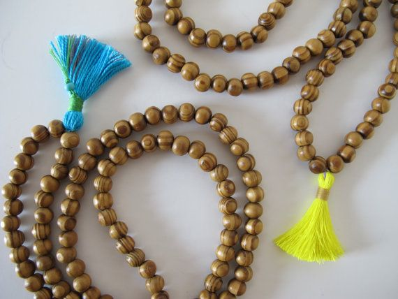 Wooden Mala Beaded Necklace w/ Turquoise Blue by TheRainbowFarmer